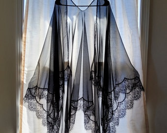 Black Chiffon with Eyelash Lace Kimono