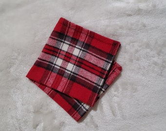 Cotton Flannel Hanky in Red, White and Grey Plaid