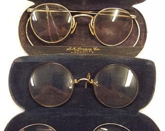 3 Pair Antique Eye Glasses