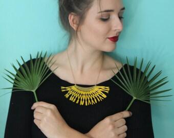 """Yellow Bib Necklace gold brass, handmade weaving, long or short,""""Résille"""""""