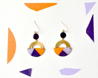 "Colorblock earrings handmade Geometric pattern ""Purple Rain"""