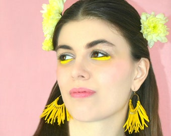 """Fringe statement earrings, Yellow, Fringe brass circle and gold plated 22 k high quality french hooks """"Soleil"""""""