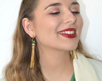 """Long tassel Green earrings Golden fringe metallic effects Goldplated 5 µ """"Lumière"""""""