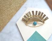 "Big Lucky Eye Brooch metallic effects enamel handmade Duck Blue and Dark  ""Le Bon Z'œil"""