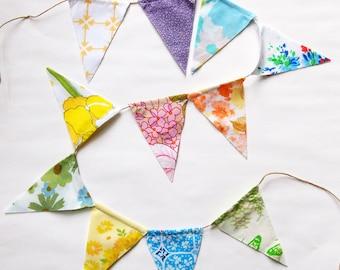 Flag Bunting, Vintage Fabric Garland, Fabric Banner, Garland Fabric, Pennant Garland, Bunting Banner, Vintage Fabric Sheets Bunting