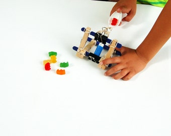 kids gift, DIY kids kit, kids science, kids kit educational toys kids craft kit DIY kit kids activity Gummi Bear Launcher catapult