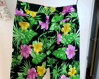 Ralph Lauren Pants...Ladies Black w Bright Floral Shade A Nicole sz 10 97 pct cotton 3 pct spandex NOS never worn w pcokets