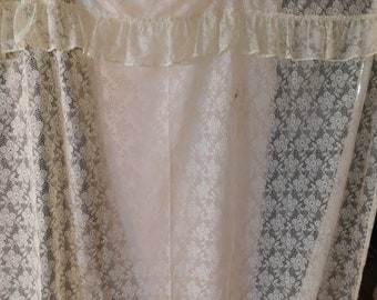 Vintage Shower Curtain White Lace W Attached Valance 64 X 68 Long 5