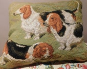 Needlepoint Pillow wool 3 Dogs Puppies Dachsunds 14 x 16 quot Zipper with insert Carmel Velvet back Very cute Dogs