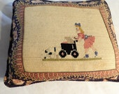 Needlepoint Pillow Hand done Little girl w baby Carriage dog 11 x 14 quot Printed Cotton backing wool front