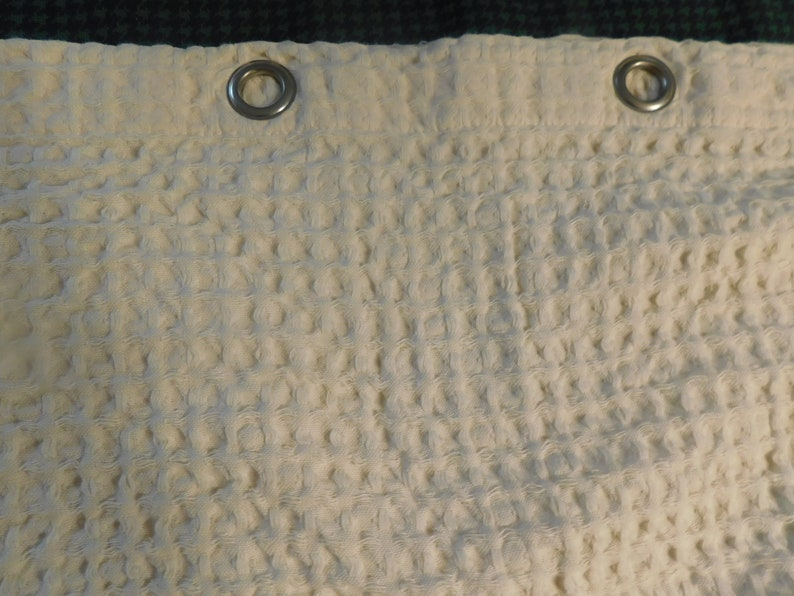 Pr Drapes 2 Panels Wonderful Waffle Weave Cotton Fabric with Silver metal rings to put rods thru 64w x 60 Long