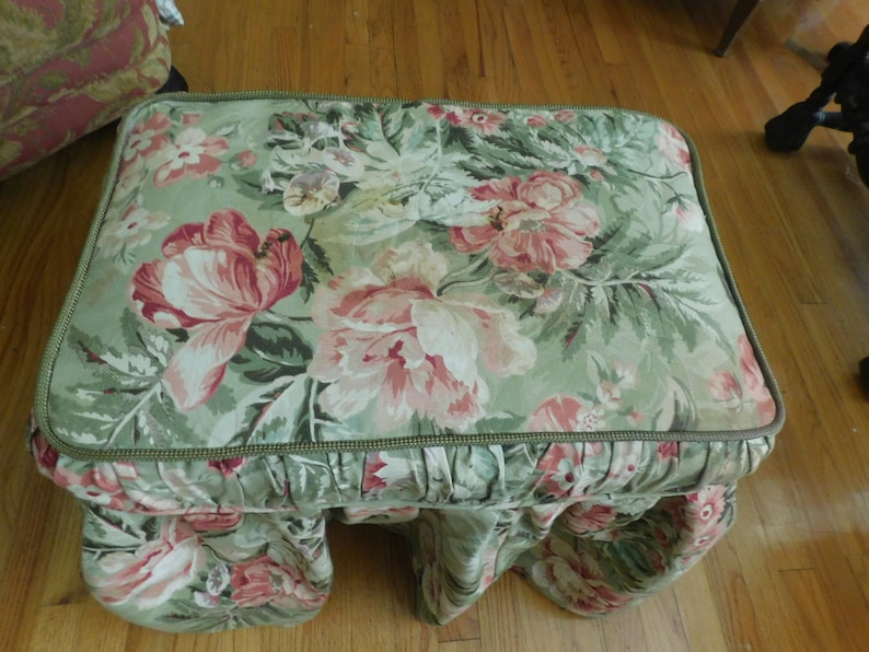 Vanity Bench Custom Slip Cover Floral 100/% Cotton w Heavy Lining 22 .5 x 13.5 18.5 long w 3 gathered sides green w pink Flowers