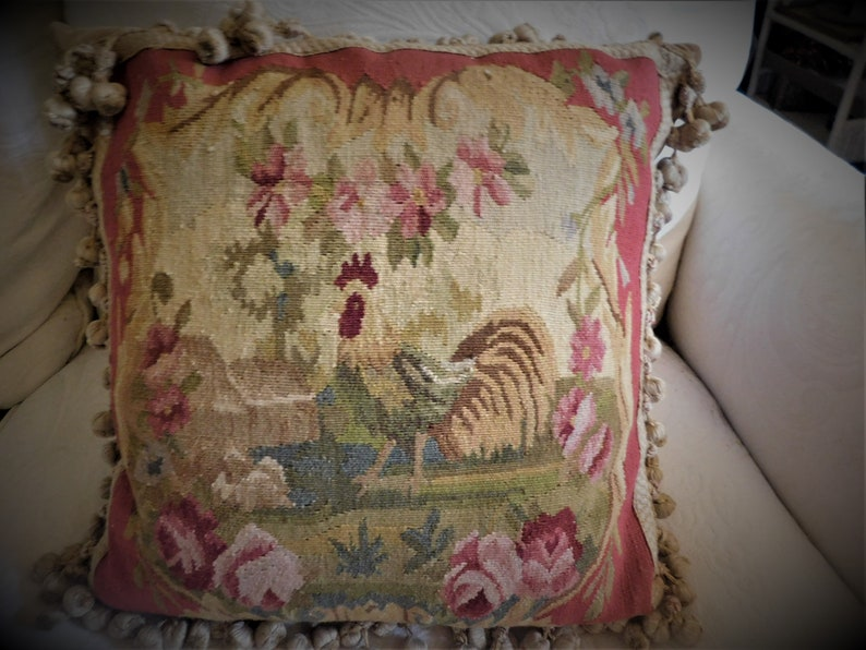 Pillow Vintage Large Rooster Needlepoint Petit Point  Pillow Red 100/% Wool w Beige Velvet backing PomPoms w braid edging  16 x 16 w Pillow