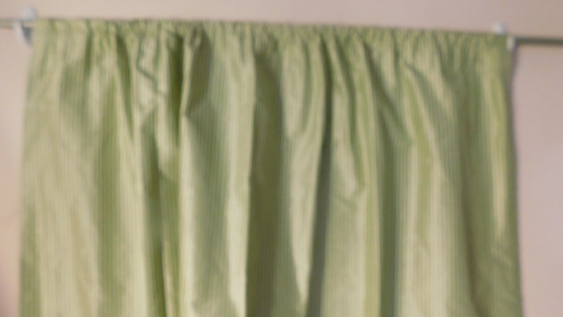 DRAPES 2 Panels Cotton  Chintz DRAPES Green /& White striped unlined but back of fabric white 26 w x 46 long ea Rod Pockets top and Bottom