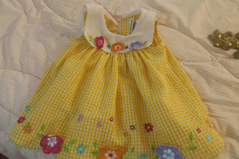 1e3cfcb6f DRESS Little girl Baby dress white & Yellow gingham check | Etsy