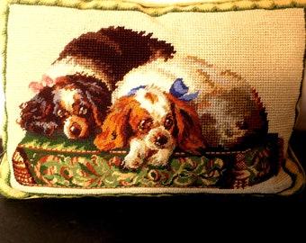 "PILLOW .2 Puppies 2 Dogs Needlepoint & Petit POint 9 x 13"" w Beige Velve t Back w zipper"