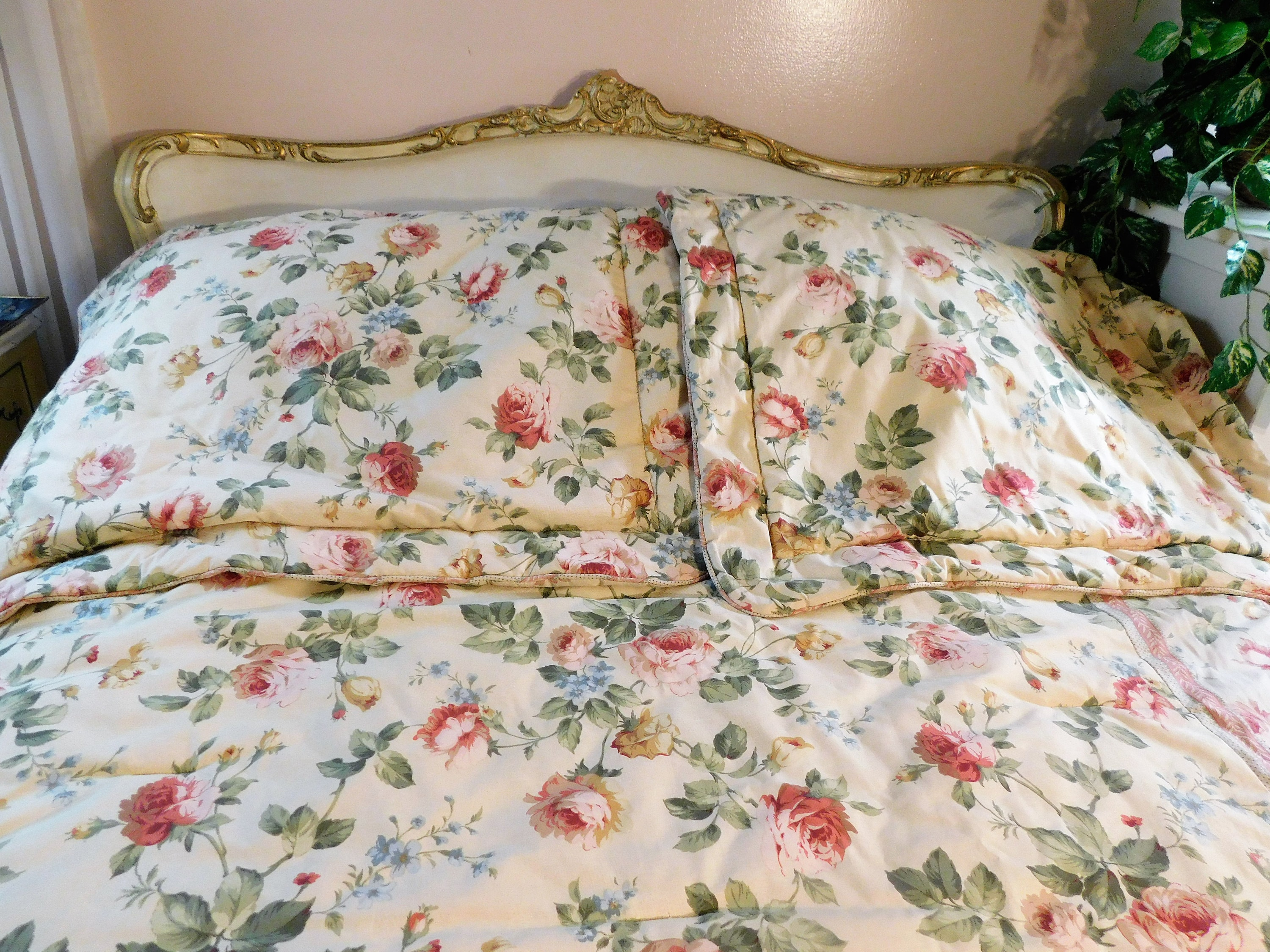 4 Pc Queen Comforter Reversible Floral To Stripes Bed Skirt Etsy