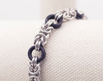 Aluminum & Rubber Chainmail Bracelet