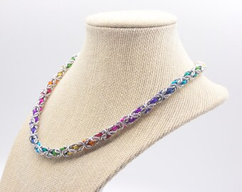 Rainbow LGBT Gay Pride Byzantine Chainmail Necklace