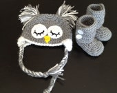 Infant Owl Hat and Booties