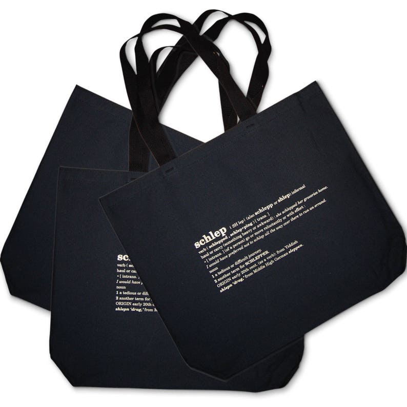 3 Black 3 schlep Recycled Canvas Tote Bags SALE