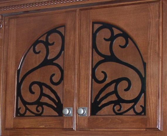 Miller Cabinet Door Panel Insert In Decorative Iron Etsy