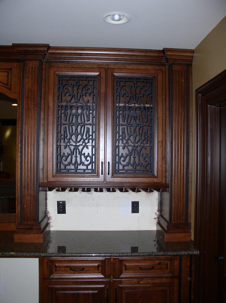 Cabinet Door Panel Insert In Decorative Iron Design Name Etsy