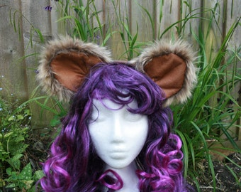 Luxury LION fur fluffy EARS on headband- handmade cosplay costume Festival