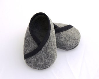 BABY FELT SHOES Boy and Girl - Newborn also available - Grey 100% Wool Felt Kimono style