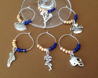 College Spirit - University of Notre Dame Fighting Irish School Colors Wine Charms with gift box