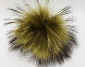 Snap on Raccoon XL Pom Pom 15 cm - Mustard Yellow