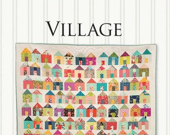 Free PDF Village Quilt Pattern by Miss Rosie's Quilt Co w/ purchase of 3 yard Bella Solid by Moda - Choice of Bleached or Porcelain White