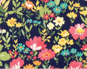 Regent Street Lawn 2018 by Moda - English Garden - Navy - Cotton Quilt Fabric - Choose Your Size 2020