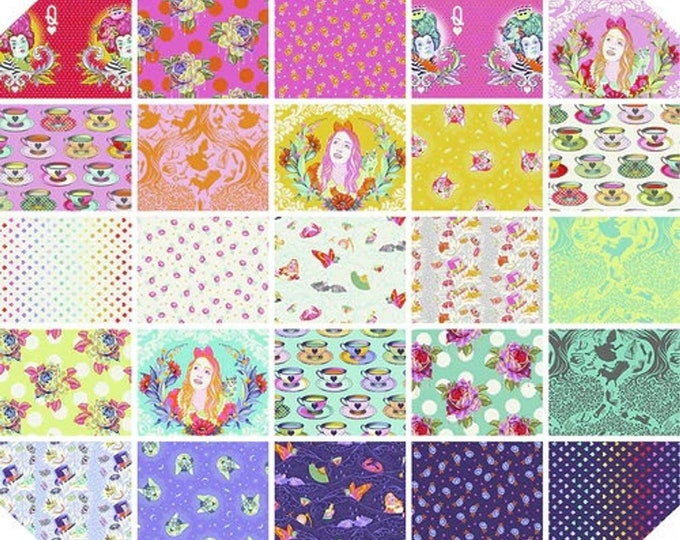 Featured listing image: Curiouser & Curiouser by Tula Pink 25 prints - Fat Quarter BTHY Yardage Bundles 100% Cotton Quilt Fabric