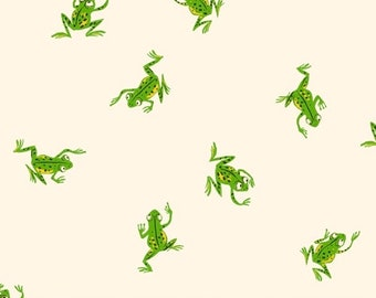 Heather Ross 20th Anniversary Reprint for Windham Fabrics - White Frogs from Kinder - Select a Size - Cotton Quilt Fabric
