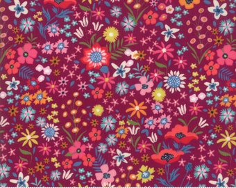 SALE Rosa by Crystal Manning for Moda - Flower Patch - Eggplant - Purple - Cotton Quilt Fabric - Choose your Size