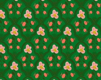 Malibu by Heather Ross for Windham - Wood Block - Dark Green - 52151-19 - Select a Size - Cotton Quilt Fabric