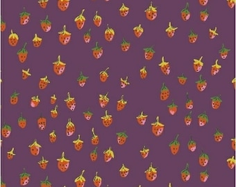 Trixie by Heather Ross for Windham Fabrics - 50899-11 - Field Strawberries - Plum - Cotton Quilt Fabric - Choose Your Size 2020