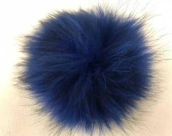 Snap on Raccoon XL Pom Pom 15 cm - Blue Bright Colbalt