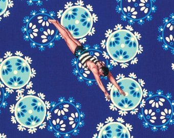 Neptune and the Mermaid by Tokyo Milk for Free Spirit - Song of the Siren - Blue - FQ - Fat Quarter - Cotton Quilt Fabric 717