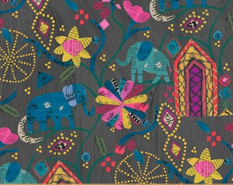 Wish by Carrie Bloomston for Windham Fabrics - Garden of Dreams - Midnight - Black - 51738M-2 - Select a Size - Cotton Quilt Fabric