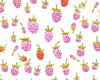 Heather Ross 20th Anniversary Reprint for Windham Fabrics - Lilac Strawberry from Kinder - Select a Size - Cotton Quilt Fabric