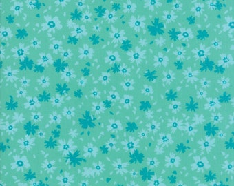 SALE Growing Beautiful by Crystal Manning for Moda - Morning Glory - Aqua - Cotton Quilt Fabric - Choose your Size