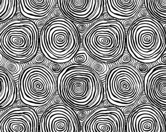 "Onion Ring Black Wide Back - Brandon Mably Kaffe Fassett Free Spirit Fabrics - BM001 - 30"" piece- 108"" Cotton Quilt Back Fabric - Sateen"