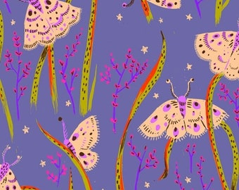 Heather Ross 20th Anniversary Reprint for Windham Fabrics - Twilight Moths from Sleeping Porch - Select a Size - Cotton Quilt Fabric