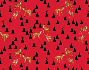 Holiday Homies by Tula Pink for Free Spirit - Bambi Life - Red Holly Berry - 1/2 Yard Cotton Quilt Fabric 717