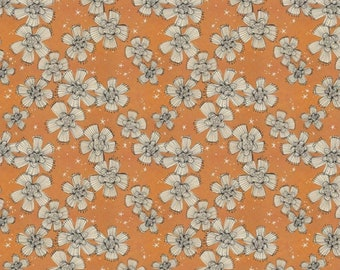 Spirit of Halloween by Cori Dantini for Free Spirit - Nocturnal Bloom - Orange - 100% Cotton Quilt Fabric - Choose your Size