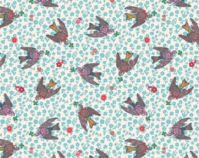 Featured listing image: Woodland Walk Nathalie Lete Anna Maria Conservatory The Swallows - Rose -FQ-half or full yard- FreeSpirit Cotton Quilt Fabric