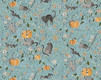 Spirit of Halloween by Cori Dantini for Free Spirit - In the Patch - Blue - PWCD003.XBLUE - 100% Cotton Quilt Fabric - Choose your Size