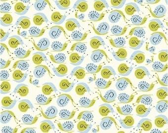 Heather Ross Far Far Away Reprint Windham Fabrics - Green and Lt Blue Snails- 1/2 yard cotton quilt fabric 516